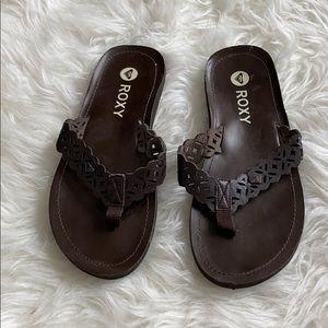 Roxy brown flip flops